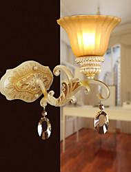 33*32CM Europe Type Restoring Ancient Ways, Wrought Iron Bedroom Crystal Glass Wall Lamp LED Light