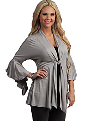 Women's Going out Sexy / Street chic Wrap,Solid Deep V ¾ Sleeve Black / Brown / Gray Cotton Medium