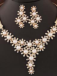 Women's European Fashion Shiny Sweet Pearl Rhinestone Flower Necklace Earrings Set