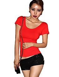 Damen Solide Sexy / Einfach Ausgehen T-shirt,Rundhalsausschnitt Kurzarm Rot / Weiß / Schwarz Baumwolle Dünn