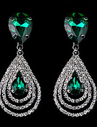 Drop Earrings Crystal Simulated Diamond Alloy Drop White Blue Jewelry 2pcs