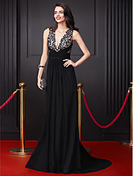 TS Couture Prom Formal Evening Dress - Celebrity Style A-line V-neck Court Train Georgette with Criss Cross Sequins