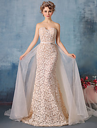 Formal Evening Dress Trumpet / Mermaid Strapless Chapel Train Lace / Tulle / Charmeuse with Beading / Lace / Sash / Ribbon