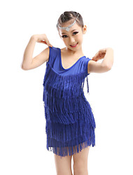 Latin Dance Dresses Children's Performance Spandex Tassel(s) 1 Piece Blue