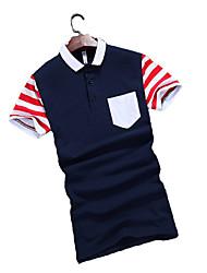 Men's Short Sleeve T-Shirt , Cotton Casual / Work / Formal / Sport Striped