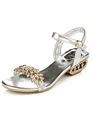 Women's Shoes Chunky Heel Peep Toe Sandals Office & Career / Party & Evening / Dress / Casual Black / Silver / Gold