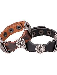 Vingtage Charm Flower Leather Bracelets