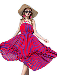 Women's Holiday / Beach Striped Chiffon / Swing Dress , Halter Midi Others