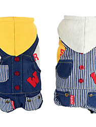Dog Hoodie / Denim Jacket/Jeans Jacket Yellow / White Dog Clothes Spring/Fall Stripe / Jeans Fashion