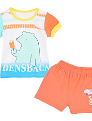 Girl's Clothing Set,Cotton Summer / Spring Blue