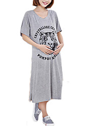 High Quality  Round Neck Maternity Dress , Cotton / Polyester Midi Short Sleeve Tiger Loose Dress