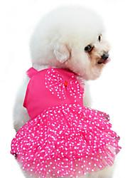 Dog Dress / Clothes/Clothing Red / Blue / Pink / Yellow Summer / Spring/Fall Bowknot / Polka Dots Fashion