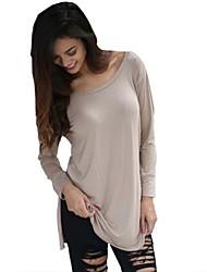 Vrouwen Sexy Alle seizoenen T-shirt,Casual/Dagelijks Kleurenblok Ronde hals Lange mouw Beige Katoen / Polyester Medium