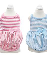 Dog Shirt / T-Shirt / Clothes/Clothing Blue / Pink Spring/Fall Stripe / Bowknot Fashion