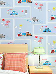 Rigato Carta da parati Contemporaneo Rivestimento pareti,Carta Kid's Car wallpaper green bedroom