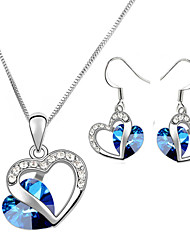 HKTC Classic 18k White Gold Plated Heart of Ocean Blue Sapphire Crystal Necklace and Earrings Set