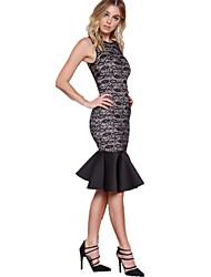 Women's Sexy / Simple Jacquard Bodycon / Trumpet/Mermaid Dress , Round Neck Knee-length Rayon