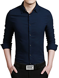 Men's Fashion Business Casual Solid Elastic Slim Fit Long Sleeved Shirt