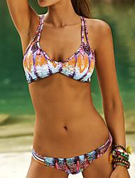 Women's Halter Bikinis , Floral / Boho Wireless / Padded Bras Polyester / Spandex Multi-color