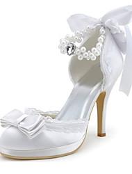 Mujer-Tacón Stiletto-Tacones / Punta RedondaBoda / Vestido / Fiesta y Noche-Satén Elástico-Blanco
