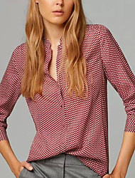 Women's Casual/Daily Simple / Street chic All Seasons Shirt,Print Stand Long Sleeve Red Cotton / Polyester Thin