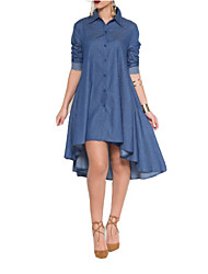 Women's Solid Blue Cotton / Polyester Long Sleeve Shirt Cowboy  Dress , Casual / Day