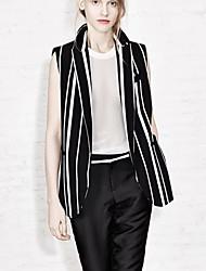 Blazer Aux femmes Long Sans Manches Simple Polyester