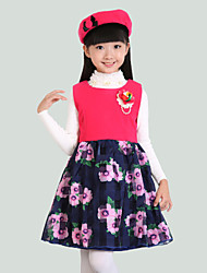 Girl's Pink / Yellow Dress,Floral Polyester Fall