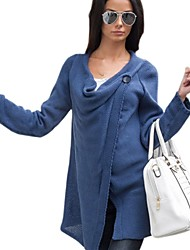 Women's Solid Blue / Beige / Black / Gray Wrap , Cowl Long Sleeve