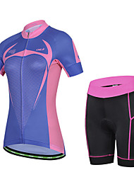 CHEJI Women's Cycling Short Sleeves Quickly Perspiration Outdoor Wearing Short Sets
