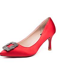 Women's Heels Spring Heels Silk Casual Stiletto Heel Black / Red / Silver Others