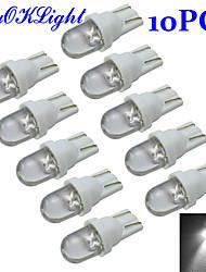 YouOKLight® T10 0.2W 30-60lm 6000-6500K White Light LED Bulb Car Signal Lamp (DC 12V/10PCS)