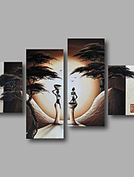 "Ready to Hang Stretched Hand-Painted Oil Painting 64""x44"" Four Panels Canvas Wall Art Modern African Sunrise Trees"