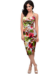 Women's Summer New Fashion Printed High Waist Sleeveless Dress