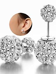 925 Silver Sterling Silver Jewelry Earrings Sample Rhinestone Beads Stud Earring 1Pair