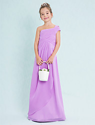 Floor-length Chiffon Junior Bridesmaid Dress Sheath / Column One Shoulder with Criss Cross