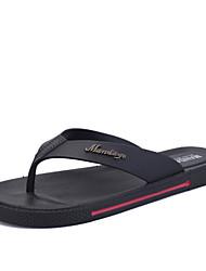 Men's Spring Summer Fall Winter Flip Flops Slippers Synthetic Outdoor Casual Flat Heel Black Brown