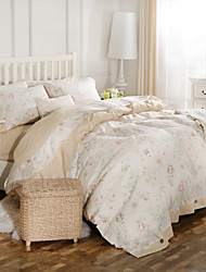Simple Opulence 100% Cotton Coconut Button Printed Stripe King Queen Duvet Cover Set
