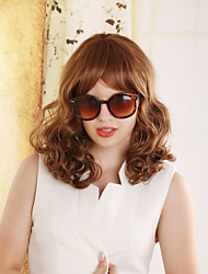 European Fashion Lady Charming Brown Color Middle Long Synthetic Wig