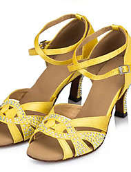 Customizable Women's Dance Shoes Latin / Salsa / Samba Satin Customized Heel  Yellow / Green / Purple / Red / White