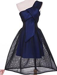 Robe Aux femmes Gaine Décontracté,Couleur Pleine Une Epaule Au dessus du genou Coton / Polyester