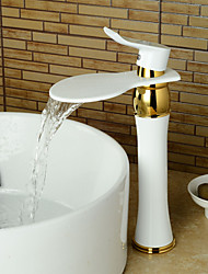 Waterfall Paint Ti-PVD Finish Bathroom Sink Faucet (Tall) -White+Gold