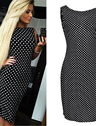 Women's Sexy / Street chic Bodycon Dress,Polka Dot Round Neck Midi Sleeveless Red / White / Black Polyester Summer