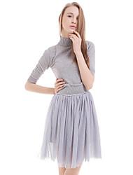 Boutique s Frauen Casual / Tag feste lose Kleid, Rundhalsausschnitt über Knie Polyester