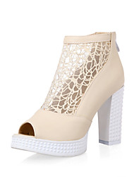Women's Shoes Lace Chunky Heel Heels / Peep Toe Sandals Wedding / Office & Career / Party & Evening / Dress Black