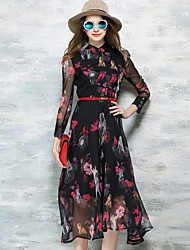 Women's Fashion Stand Collar Print Swing Midi Dress