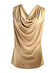 Women Tank Top Drape Neck Sleeveless Solid Color Vest T-Shirt Top