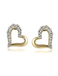 Luxury Stud Earrings for Women Vintage Crystal Heart Stud Earrings Fashion Jewelry Accessories Silver Plated