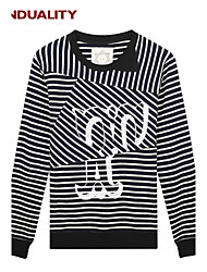 Trenduality® Herren Rundhalsausschnitt Lange Ärmel T-Shirt Grau / Dunkelblau - 47158