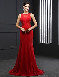 Formal Evening Dress Trumpet / Mermaid Jewel Chapel Train Satin with Lace